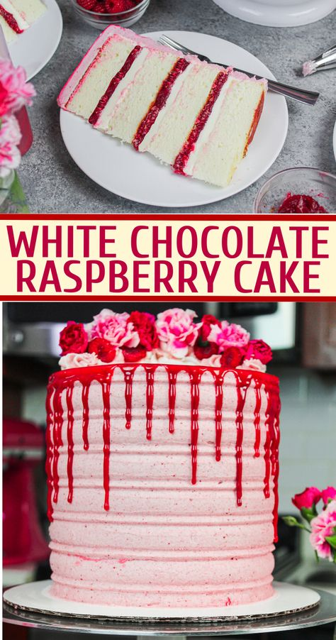 White Chocolate Raspberry Cake: Delicious Recipe from Scratch This white chocolate raspberry cake is the perfect balance of tart & sweet! Its fluffy white cake layers and tart raspberry filling make it irresistible! White Chocolate Raspberry Cake, White Chocolate Frosting, White Raspberry, Cake Chocolate, Baking Chocolate, Homemade Cake Recipes, Best Cake Recipes, Sweet Recipes, Baking Recipes