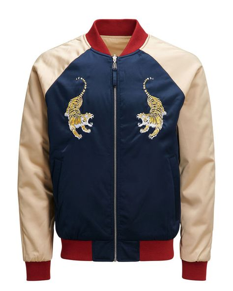 Japanese inspired reversible bomber jacket, soft fabric, blue, red and golden with tiger details | JACK & JONES
