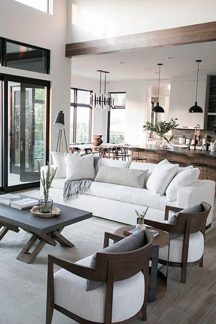 Modern Neutral Living Room Design Kitchen Design And Modern Dining Room Design Mod In 2020 Neutral Living Room Design Open Living Room Design Farm House Living Room