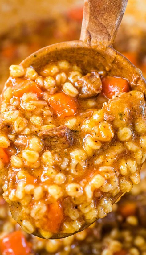 This Hearty Beef Barley Soup is a restaurant-worthy, absolutely delicious, easy-to-make and filling meal. Made with only 8 ingredients, less than 30 minutes of active cooking time, and minimal cleanup, it will feed the whole family! FOLLOW Cooktoria for more deliciousness! #beef #barley #soup #stew #dinner #lunch #comfortfood #recipeoftheday