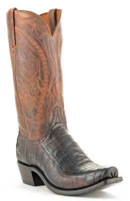 Mens Lucchese Ultra Belly Caiman Croc Boots Barrel Brown