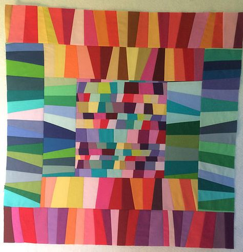 """""""All the Colours"""" WIP improv quilt by Leanne of She Can Quilt."""