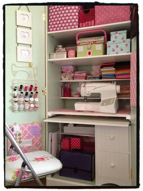 Great little sewing space - converted from a bedroom wardrobe