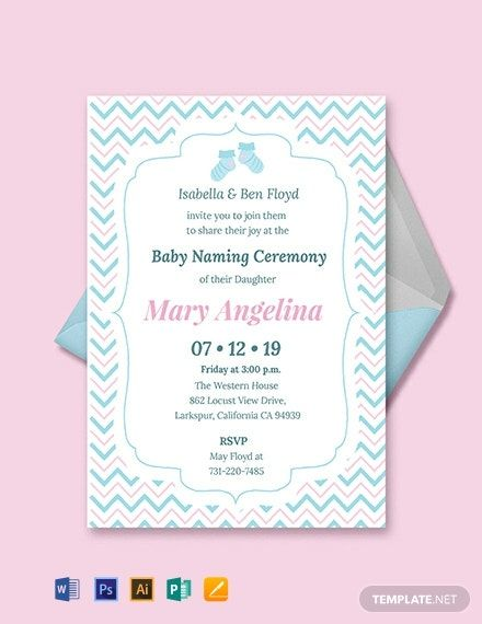 Baby Naming Ceremony Invitation Template Free Pdf Word Psd Apple Pages Illustrator Publisher Naming Ceremony Invitation Invitation Template Baby Dedication Invitation
