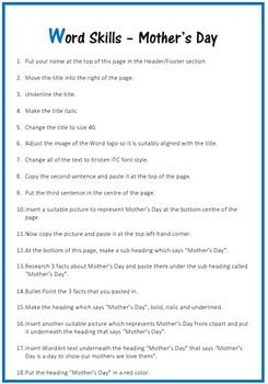 Microsoft Word Exercise Worksheet Mother S Day Word Skills Microsoft Word Lessons Microsoft Word