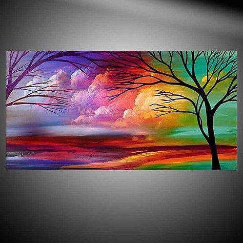 Paisaje Al Atardecer En Pintura Acrilica Pinturas Pintura Al Oleo Paisajes Pintura Oleo Abstracto