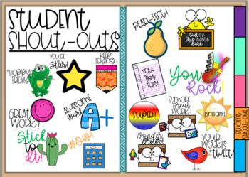Free Student Shout Out Digital Stickers By A Heart To Teach Tpt Digital Sticker Teacher Stickers Digital Classroom
