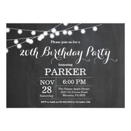 20th birthday invitation chalkboard