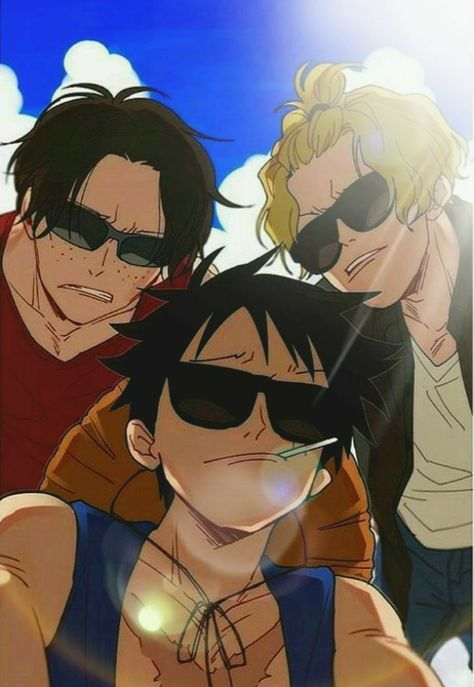 The coolest brothers in the world luffy, sabo and ace – One Piece One Piece Manga, One Piece Drawing, One Piece Comic, One Piece Fanart, One Piece Crew, One Piece World, Sabo One Piece, One Piece Cosplay, One Piece Images
