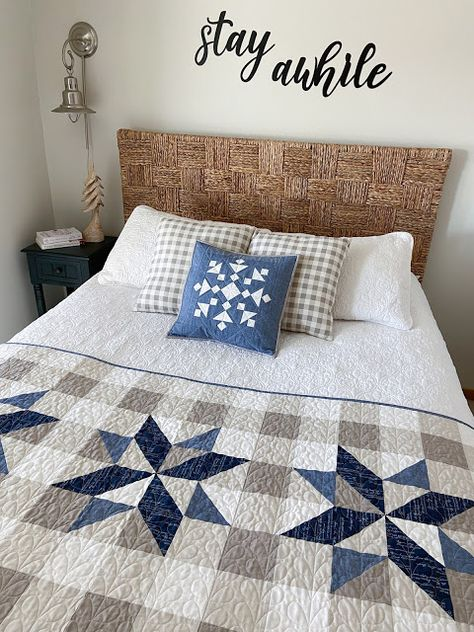 Star Quilts, Easy Quilts, Quilt Blocks Easy, Modern Quilt Blocks, Block Quilt, Blue Quilts, Colchas Quilting, Quilting Designs, Quilting Ideas