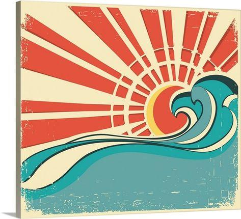 Sunburst and Waves Design Solid-Faced Canvas Print