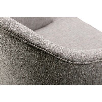 Louise Upholstered Tub Chair  Warm Slate (Grey) Gray   Simpli Home