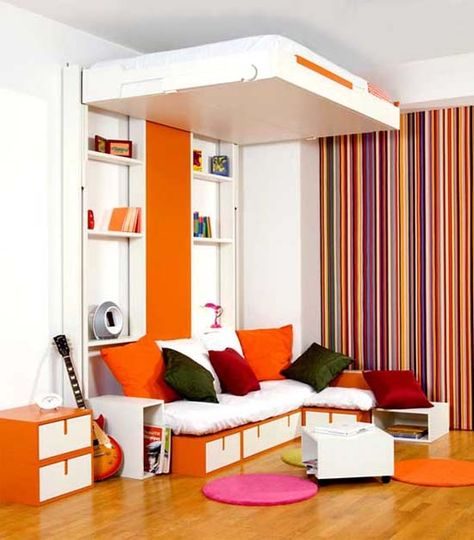 """Holy Awesome!!!!!! bed from Espace Loggia """"Mobile Bed"""" - bed raises to ceiling for day-time storage"""