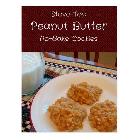 Peanut Butter No-Bake Cookies Recipe Card #recipes #recipe #cards #cookies #recipe