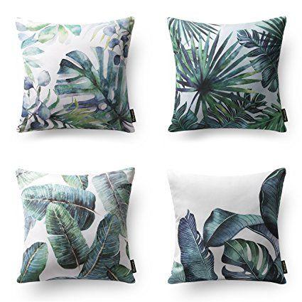 Phantoscope New Tropical Leaves Throw Pillow Cushion Cover 18 X 18 45cm X 45cm Set Of 4 Decorative Throw Pillow Covers Throw Pillows Pillows