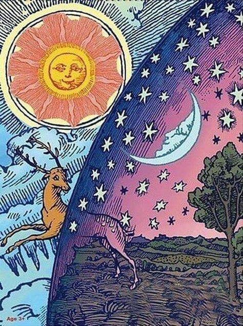 Details about Sticker Psychedelic Art Night Day Sun Moon Hippie Boho Spirit Peace Wild Cool Art Inspo, Kunst Inspo, Inspiration Art, Art And Illustration, Animal Illustrations, Illustrations Posters, Hippie Art, Hippie Boho, Bohemian Art