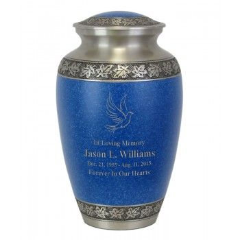 Leaves Of Peace Double Hearts Pewter Blue Urn Urn Pewter Outdoor Urns