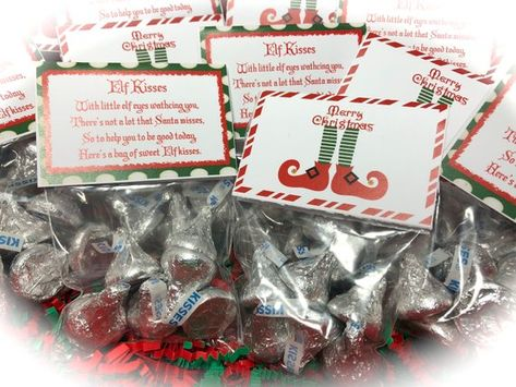 Elf Kisses Treat Bags, Elf Kisses Stocking Stuffers, Elf Kisses Christmas Party Favor, Christmas Tre