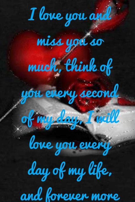 I love you and miss you so much, think of you every second of my day, I will love you every day of my life, and forever more