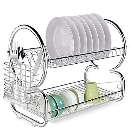 Fast 2 Tier Dish Rack Stainless Steel Kitchen Dish Drying Rack