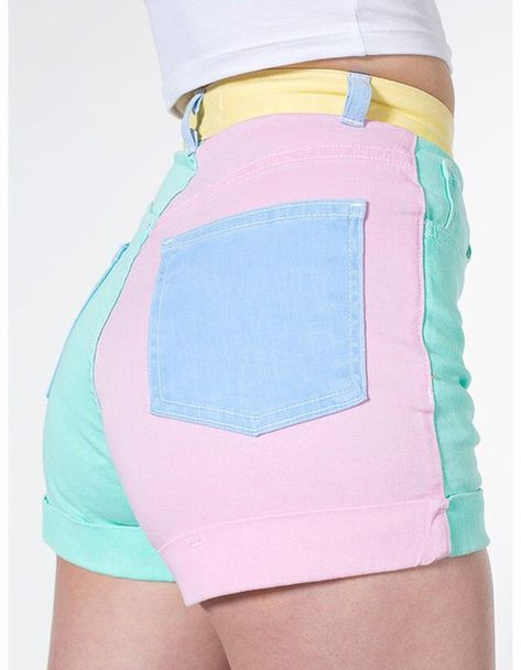American Apparel - Color Block Stretch Bull Denim High-Waist Cuff Short I own these there my favorite shorts! K Fashion, Pastel Fashion, Kawaii Fashion, Cute Fashion, Fashion Outfits, Retro Outfits, Casual Outfits, Summer Outfits, Grunge Outfits