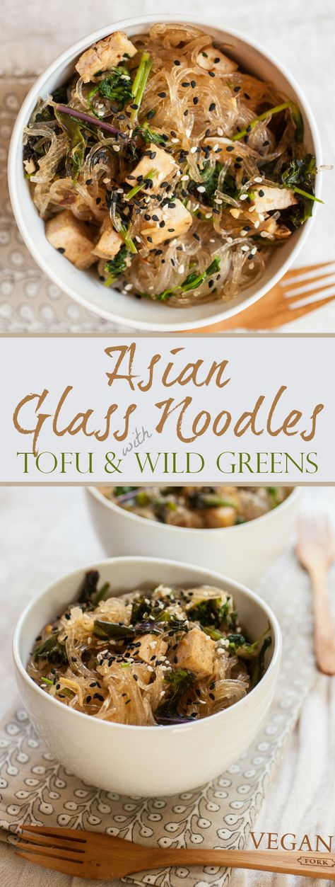 asiatischen Glasnudeln mit Tofu & Wild Grünen