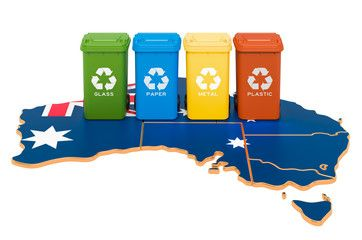 Waste Recycling In Australia Colored Trash Cans On The Map Of