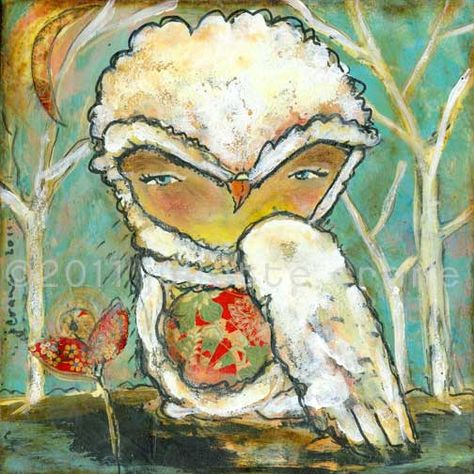 Owl Art Print - inch Print of a Reproduction of the Original Mixed Media Painting Let the Outside In by Juliette Crane