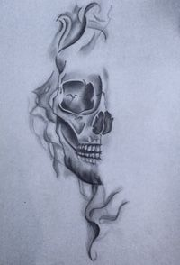 Skull With Smoke Effect Realistic Drawing By Eline Groe Skull Art Drawing Skull Tattoo Design Tattoos