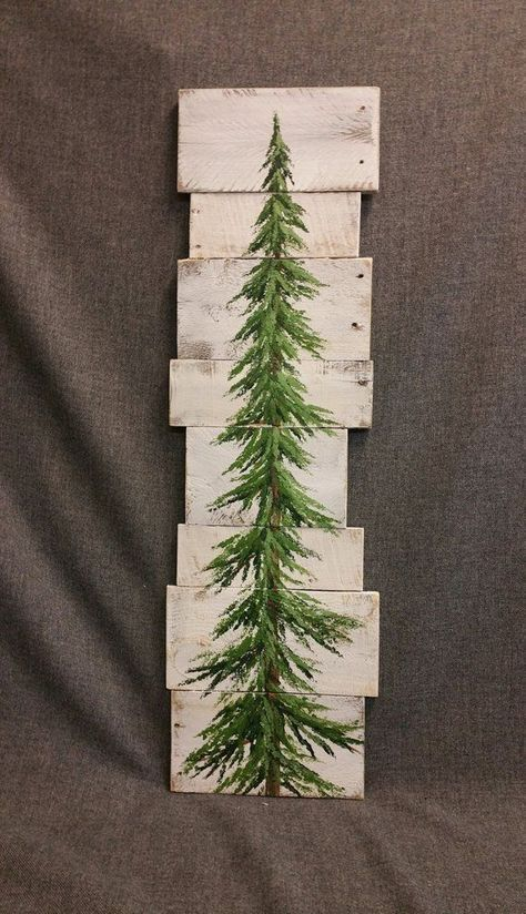 Pine tree, Christmas tree, white washed Reclaimed Wood Pallet Art, winter snow, christmas Hand painted, upcycled, Wall art, Distressed #ChristmasDecorations