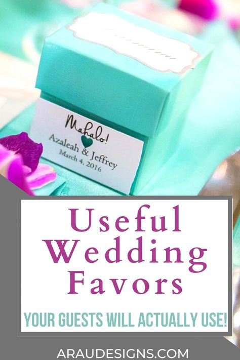 Want some useful wedding favors that your guests will actually use? Check out these cute wedding favors to match your winter, fall, spring or summer wedding. From inexpensive and cheap wedding favors to elegant and rustic, you are sure to find that perfect wedding souvenir to match your unique theme. Want to DIY wedding favors? Check out our homemade wedding favors for ideas. Visit AraUDesigns.com for more DIY wedding ideas! #araudesigns #wedding #weddingfavors #diywedding