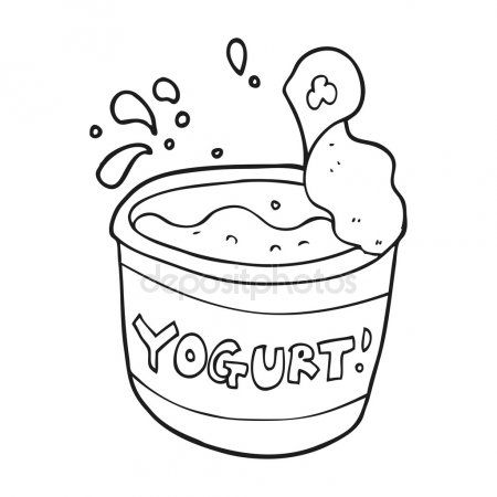 Siyah Beyaz Cizgi Film Yogurt Black And White Cartoon Drawing For Kids Coloring Books
