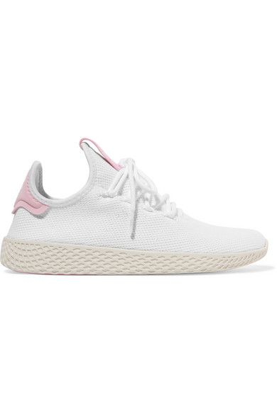White Pharrell Williams Tennis Hu Stretch Knit Sneakers Adidas Originals Knit Sneakers Williams Tennis Pharrell Williams
