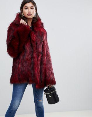 Asos Design Tipped Faux Fur Coat Red, Fake Fur Coats London