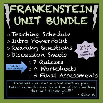 Frankenstein Unit Bundle Mary Shelley Frankenstein Study Guide Writing Units Freewriting