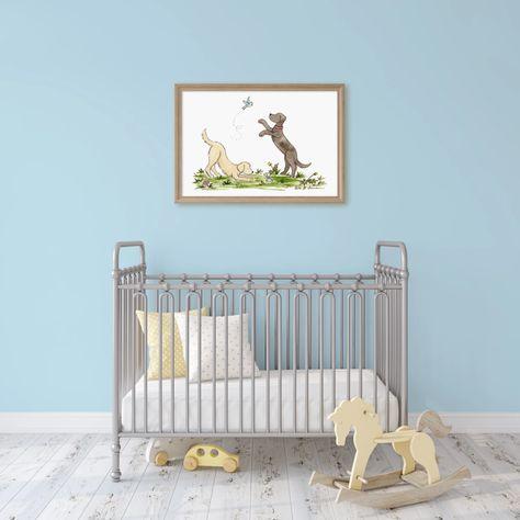 Puppy Nursery Art Golden Retriever And