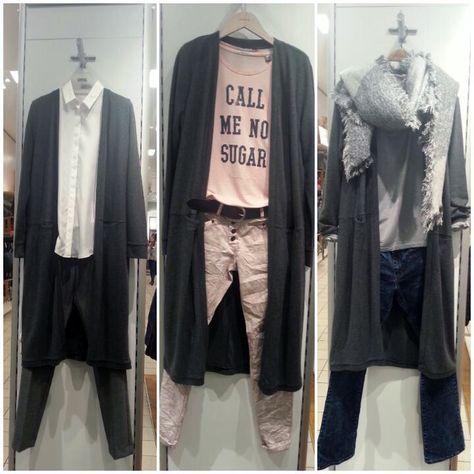 How to wear #LONGCARDIGANS: schwerer Longcardigan mit aufgesetzten Taschen und Seitenschlitzen: Opus - v.l.: relaxte Businesshose: Opus - Hemdbluse mit verdeckter Knopfleiste: Cinque - rosa Boyfriend Jeans: s.Oliver -  Print-Shirt: Maison Scotch - Gürtel: Liebeskind - Bootcut Jeans: s.Oliver - Langarmshirt & Webschal: Tom Tailor #fashion #stylingtutorial