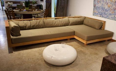 Modern L Shaped Sofa Made Of Solid Teak Wood Without Cushion In