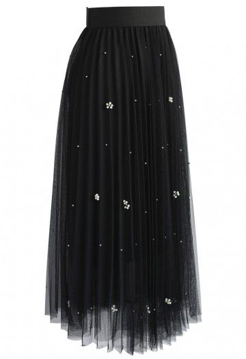 Falling Sparkle Tulle Skirt in Black - Retro, Indie and Unique Fashion