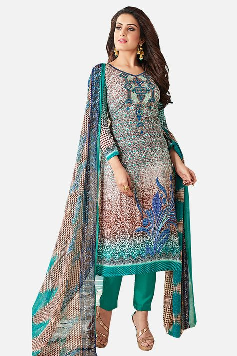 e891e6a71 Printed Cotton Satin suit with Neck Embroidery atisundar lovely Multi  Designer Embroidered Summer Special Straight Cut Suit - 14664
