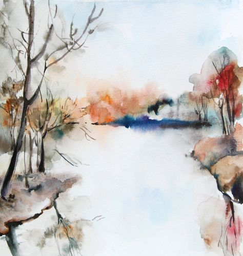 For Her Par Ksusha Sur Etsy Paysage Aquarelle Peinture