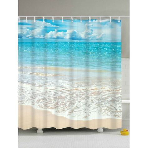 Beach Scenery Anti Bacteria Mouldproof Shower Curtain Light Blue