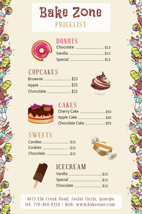 Cartoony Bake Sale Price List Bake Sale Poster Menu Card Design Bake Sale Packaging
