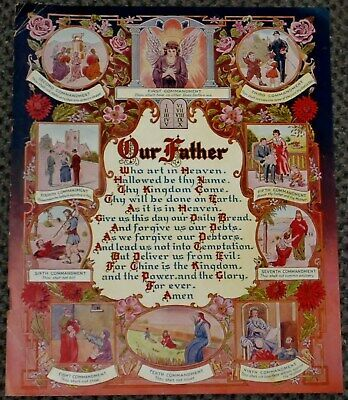 Ebay Sponsored Antique 9x11 Lithograph The Lords Prayer Our Father Ten Commandments 1925 L K The Lords Prayer Antiques Lithograph