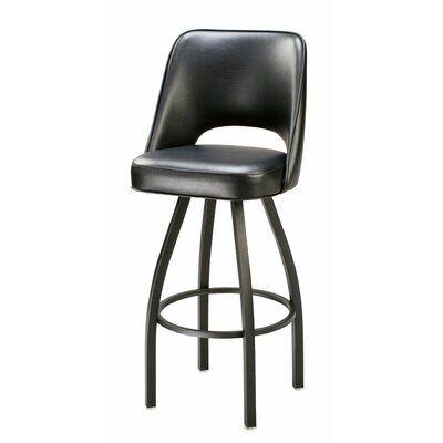 Regal Swivel Bar Counter Stool Upholstery Black Finish Chrome