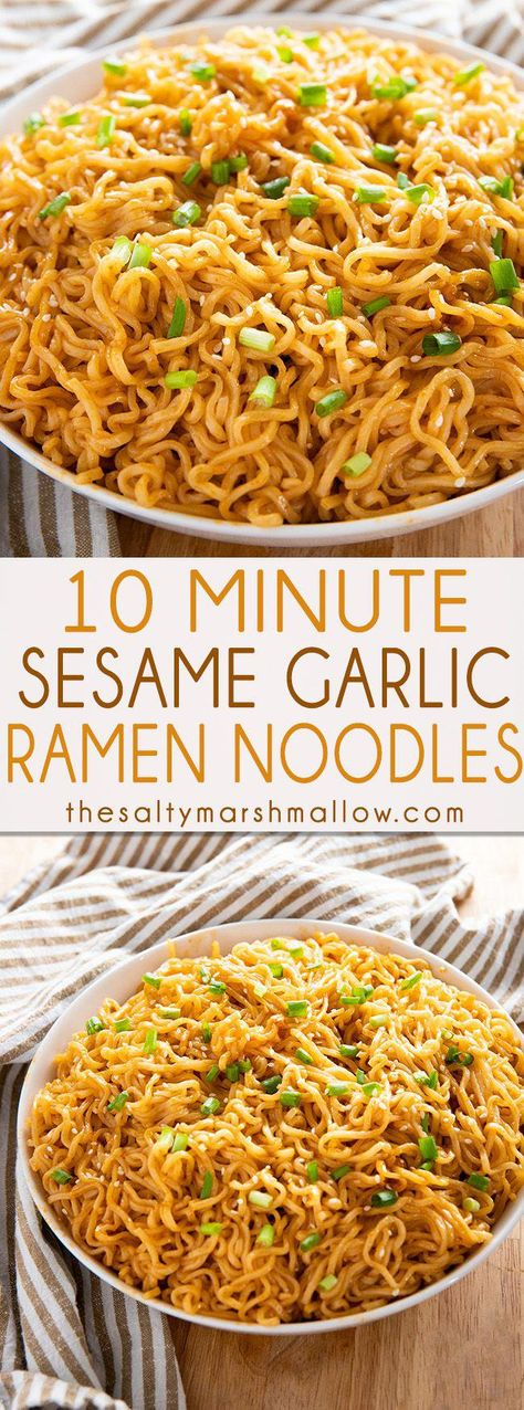 Sesame Garlic Ramen Noodles Recipe - The best ramen noodle recipe made easy at home with a simple and super flavorful sauce! Learn how to make ramen taste even better in a snap! made ramen noodle recipe SESAME GARLIC RAMEN NOODLES RECIPE Best Ramen Noodles, Recipes With Ramen Noodles, Easy Noodle Recipes, Quick And Easy Recipes, Ramen Noodle Recipes Chicken, Easy Chinese Food Recipes, Simple Healthy Recipes, Chinese Noodle Recipes, Spanish Recipes