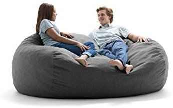 Amazon Com Big Joe Lux Xxl Fuf Foam Filled Bean Bag Chair Union Pecan Kitchen Dining Bean Bag Chair Luxury Sofa Chair