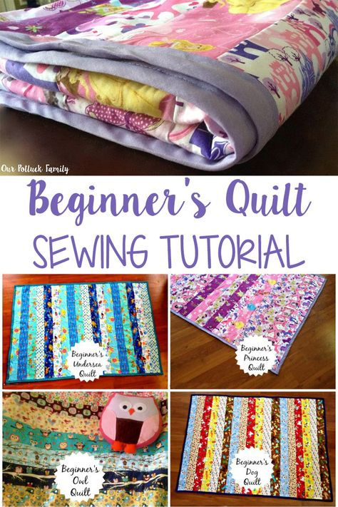 The step-by-step directions within this beginner's quilt sewing tutorial will guide you through the process of sewing your very first quilt in just a few hours! Anfängerhäkeldecke Beginner's Quilt Sewing Tutorial - Our Potluck Family Quilting For Beginners, Sewing Projects For Beginners, Quilting Tips, Quilting Projects, Beginner Quilting, Hand Quilting, First Sewing Projects, Sewing Machine Projects, Beginner Quilt Patterns