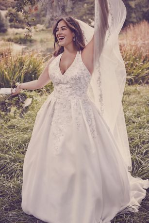 Illusion Back Organza Plus Size Wedding Dress Style 9WG3936 ...