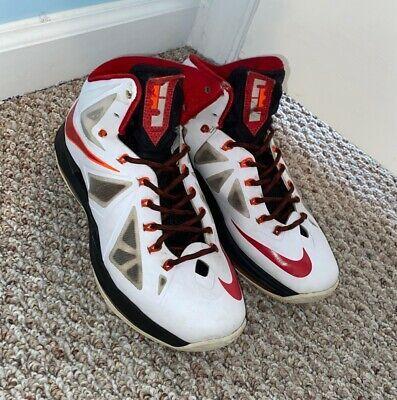 Nike Lebron X Lbj 10 Home Mens Shoes White Red Basketball Size 8 541100 100 In 2020 Men S Shoes Shoes Nike Lebron